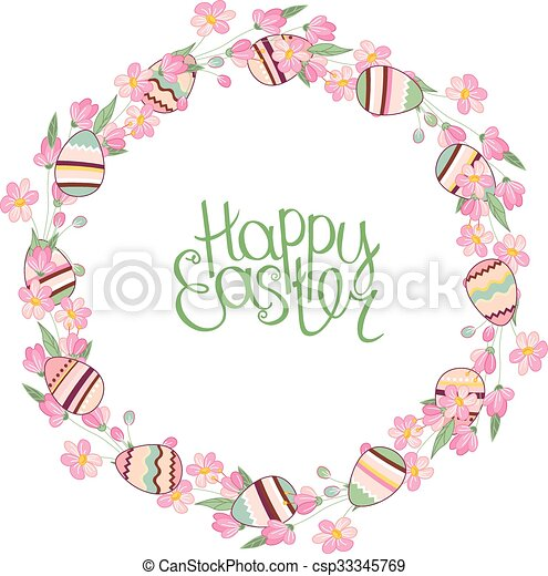 Easter Wreath With Stylized Blossoming Branches And Eggs Clip