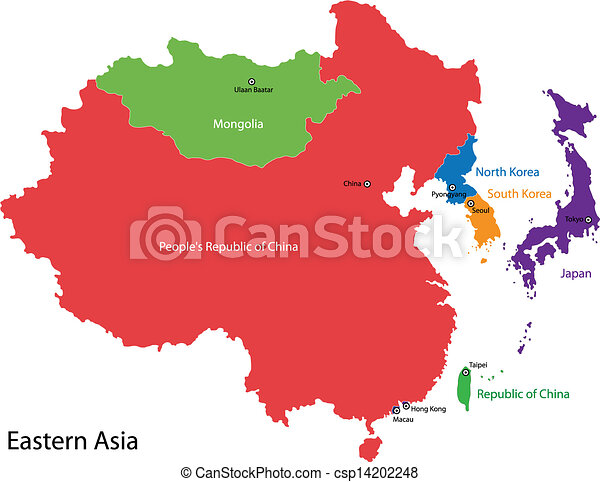 Cartina Politica Asia.Eastern Asia Map Color Map Of Eastern Asia Divided By The Countries Canstock