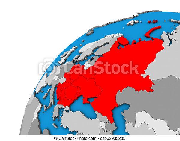 Eastern Europe on 3D globe - csp62935285