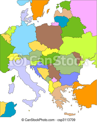 Eastern Europe With Editable Countries Eastern Europe Eps - Europe map with cities and countries