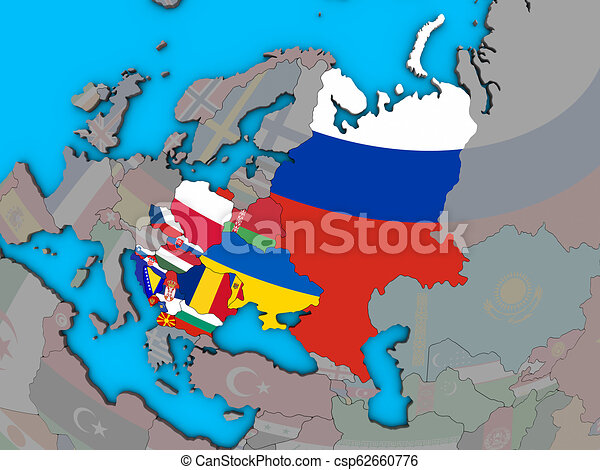 Eastern europe with flags on 3d map. Eastern europe with embedded ...