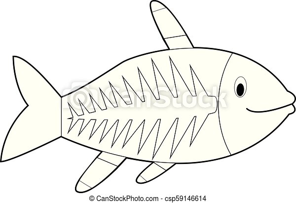 Easy Coloring Animals For Kids X Ray Fish