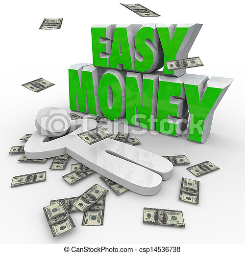 Easy Money Person Relaxing Dollars Falling From Sky - csp14536738