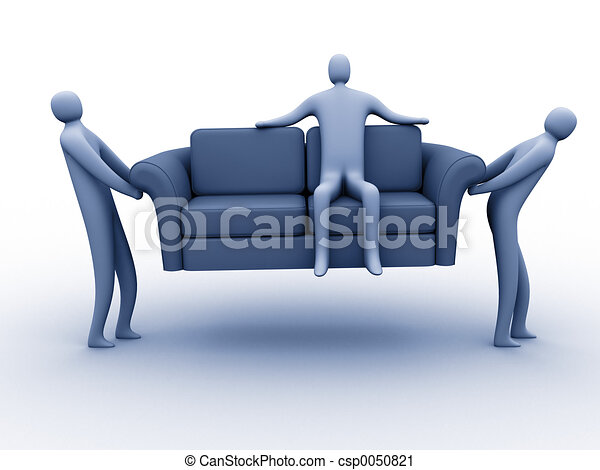 Easy Moving 3d People Carrying Another Person Sitting On A Sofa