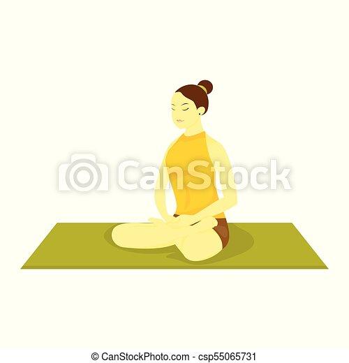 easy pose yoga meditation vector illustration graphic design