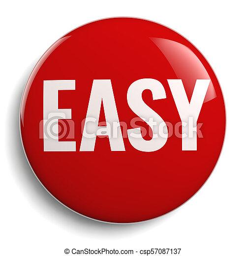 Easy Red Button 3D Symbol - csp57087137
