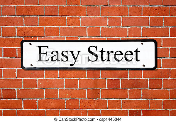 Easy street sign on a brick wall. - csp1445844