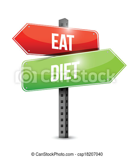 eat and diet road sign illustration design - csp18207040