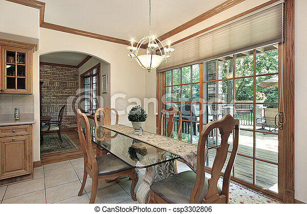 Eating area with deck view - csp3302806