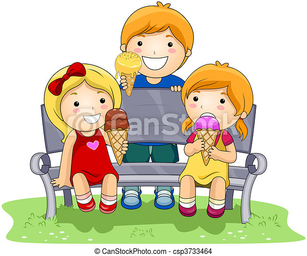 Children Eating Ice Cream In The Park Drawing