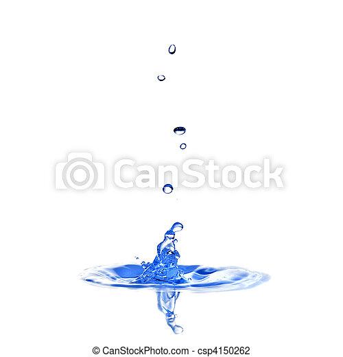 eau, blanc, éclaboussure, isolé, gouttes - csp4150262