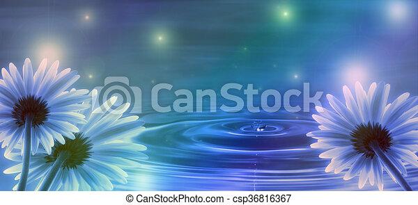 eau bleue, fleurs, fond, vagues - csp36816367