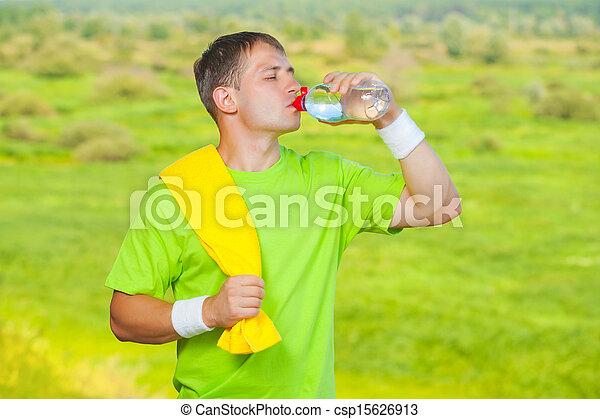 eau, buvant bouteille, sportif - csp15626913