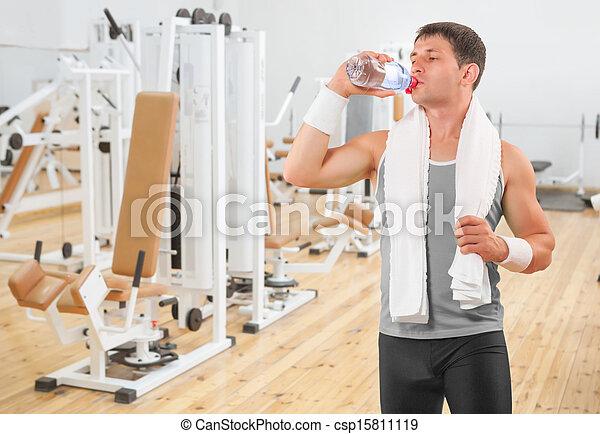 eau, buvant bouteille, sportif - csp15811119