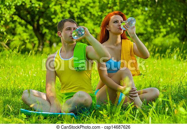 eau, couple, boire, sports - csp14687626