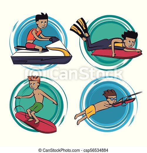 eau, dessins animés, sports - csp56534884