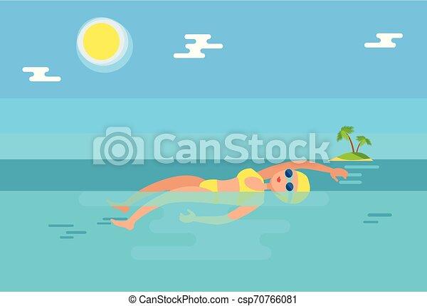eau, dos crawlé, vecteur, illustration, nageur - csp70766081