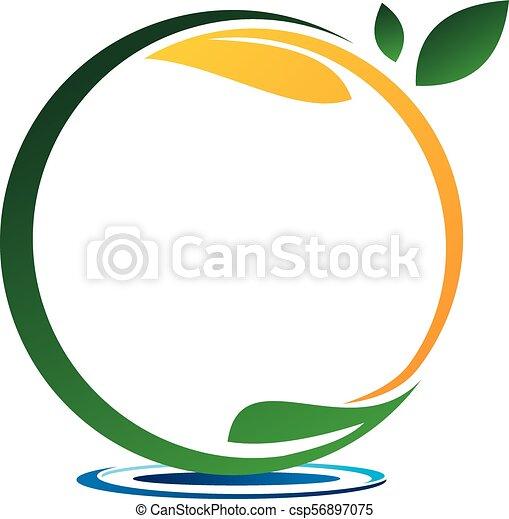 eau, emblème, feuille, gabarit, vide - csp56897075