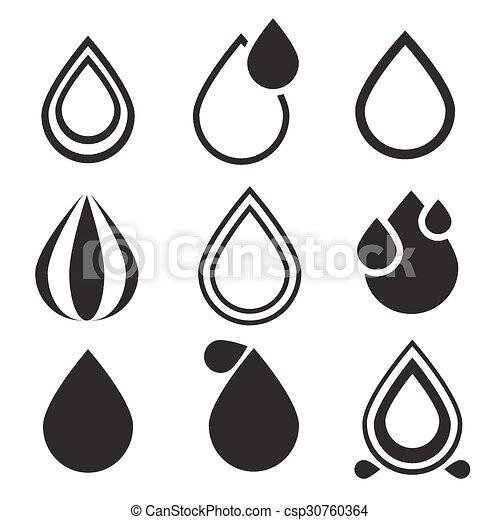 eau, ensemble, icônes, goutte - csp30760364
