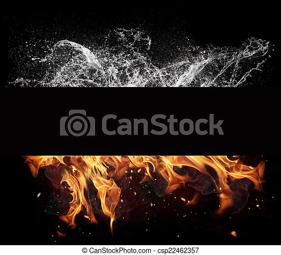 eau feu, éléments, arrière-plan noir - csp22462357