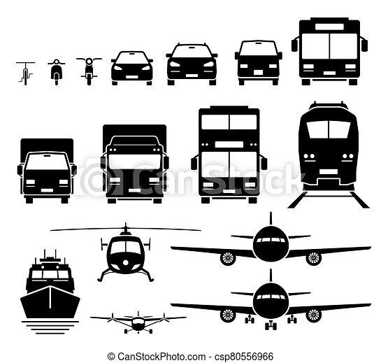 eau, icônes, transport, set., véhicules, vue, air, terrestre, devant - csp80556966