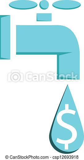 eau, ou, argent, robinet, fuir, verser - csp12693918