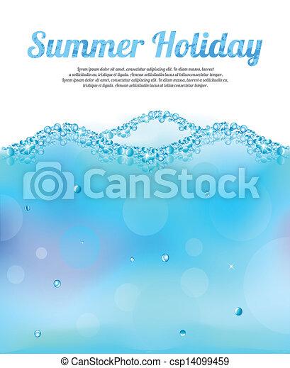 eau, résumé, vecteur, bulles, vague - csp14099459