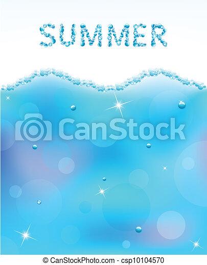 eau, résumé, vecteur, bulles, vague - csp10104570