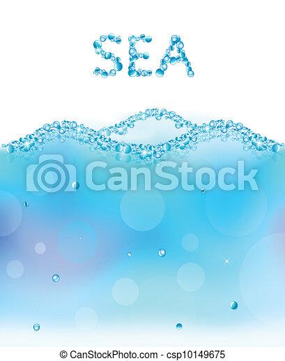 eau, résumé, vecteur, bulles, vague - csp10149675
