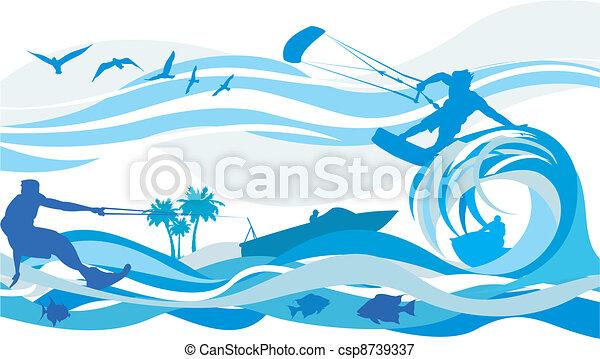 eau, surfer, -, cerf volant, sports - csp8739337