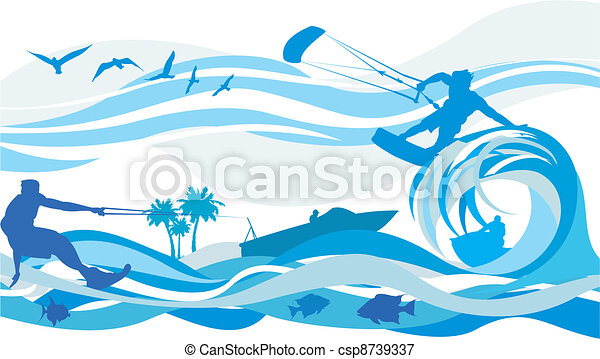 eau, surfer, -, sports, cerf volant - csp8739337