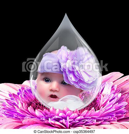 eau, type caractère bébé, goutte - csp35364497