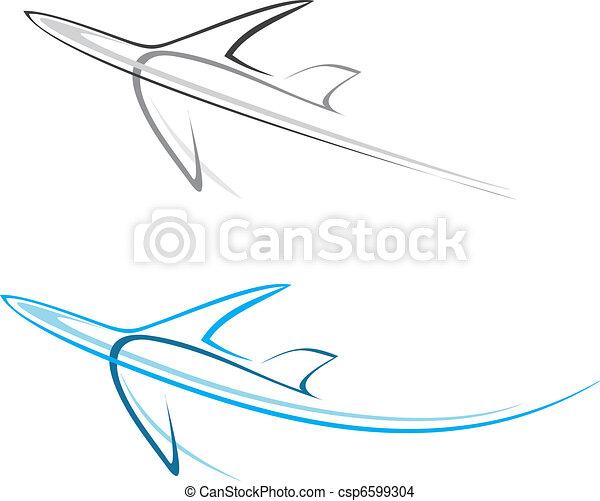 eben, verkehrsflugzeug - csp6599304