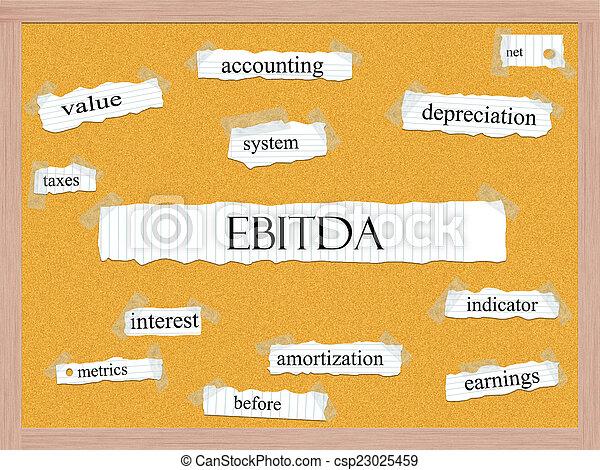 EBITDA Corkboard Word Concept - csp23025459