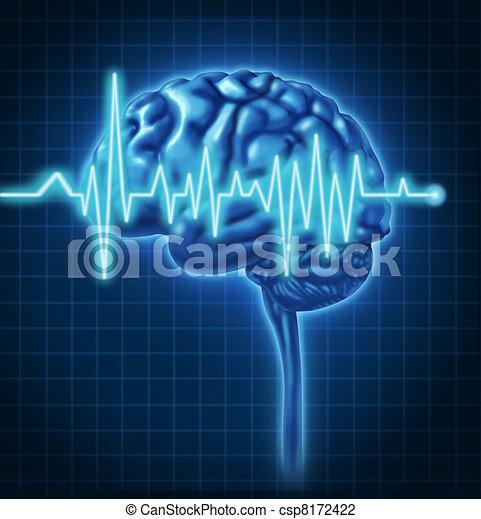 ecg, 脳, 健康, 人間 - csp8172422