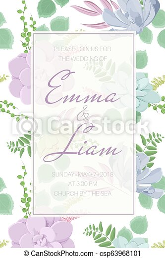 Echeveria Stone Rose Succulent Flowers Fern Greenery Wedding Event Invitation Card Template Warm Pastel Colors