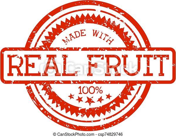 echte, fruit, rubberstempel - csp74829746