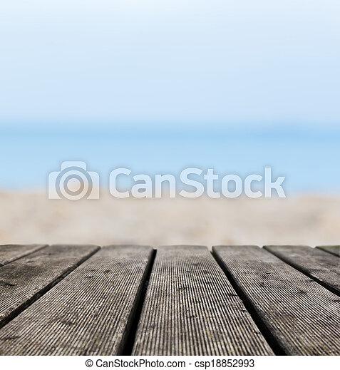 echte, grunge, raad, oever, rustiek, hout, achtergrond, oceaan, strand - csp18852993