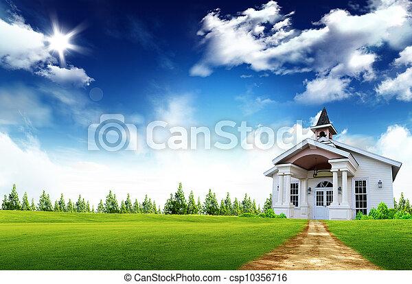 echte, houten huis, binnen, landgoed, -, conceptueel, huis verzekering, eigendom, symbool, huisvesting - csp10356716