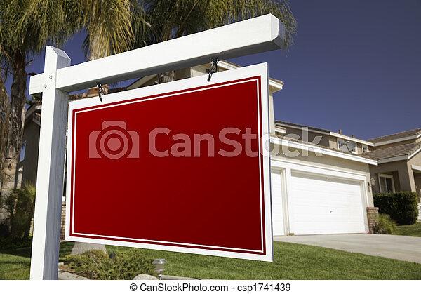 echte, woning, leeg, landgoed, meldingsbord - csp1741439