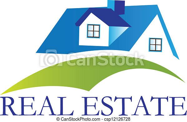 echte, woning, vector, landgoed, logo - csp12126728