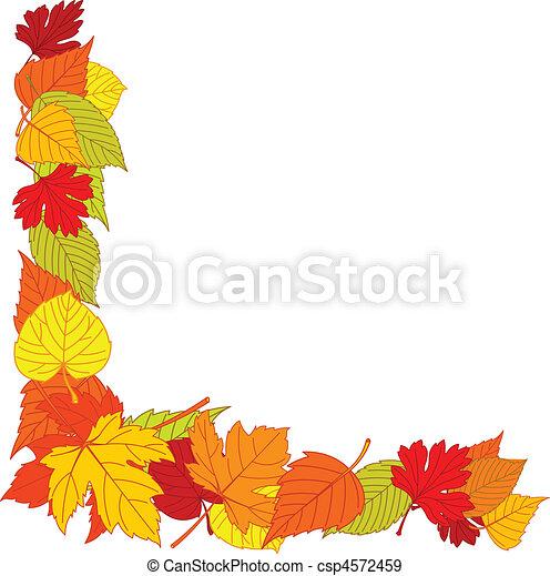 Ecke, blätter, seite, herbst. Blätter, herbst, ecke, ränder,... EPS ...