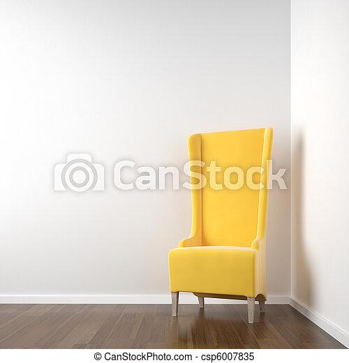 ecke wei es stuhl zimmer gelber zimmer raum wand szene sauber inneneinrichtung ecke. Black Bedroom Furniture Sets. Home Design Ideas