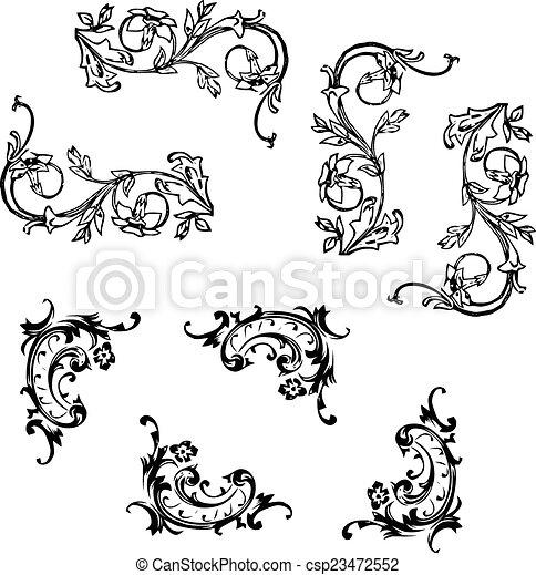 ecken schn rkel ecken verschieden schn rkel stil clipart vektor suche illustration. Black Bedroom Furniture Sets. Home Design Ideas