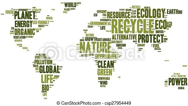 eco, 地図, 作られた, 言葉, 世界 - csp27954449