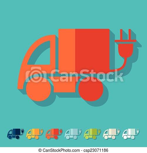 eco, 平ら, design:, 自動車 - csp23071186