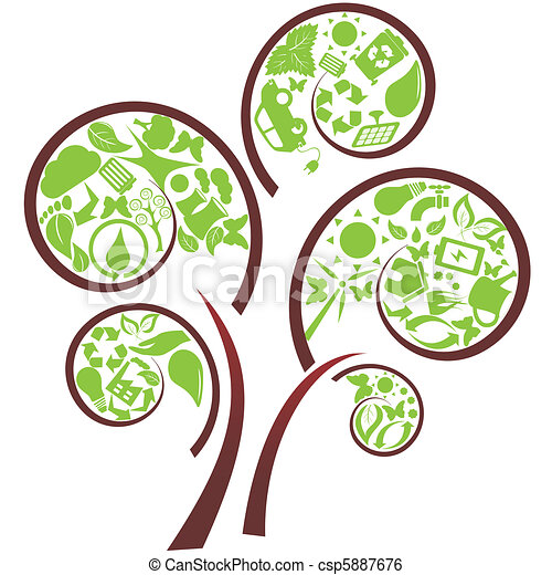 eco, 緑の木 - csp5887676