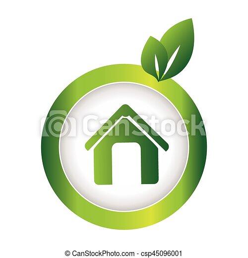 eco, 緑, 円, 紋章, 家 - csp45096001