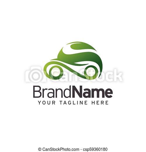 eco, 自動車, ベクトル, デザイン, テンプレート, ロゴ - csp59360180