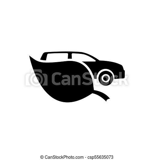 eco, 自動車, ベクトル, 平ら, アイコン - csp55635073